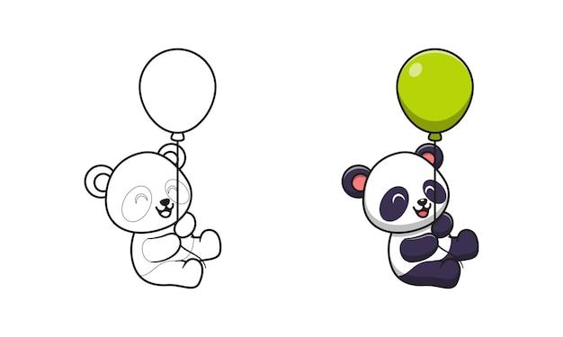 Panda sveglio che tiene le pagine da colorare del fumetto del palloncino per i bambini