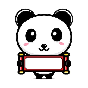 Panda carino con carta bianca