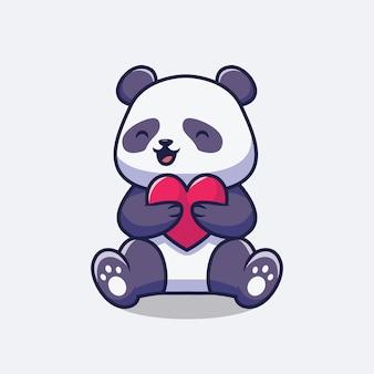 Panda sveglio che tiene l'illustrazione del fumetto di amore