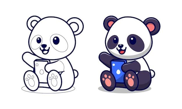 Panda sveglio che tiene la pagina da colorare del fumetto del telefono per i bambini