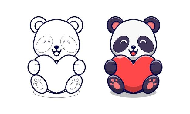 Panda sveglio che tiene la pagina da colorare del fumetto del cuore rosso per i bambini