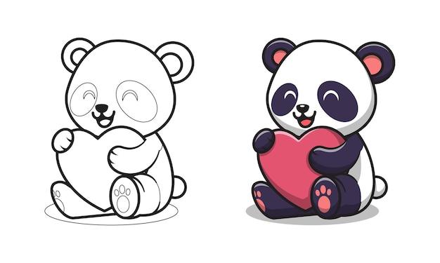 Panda sveglio che tiene le pagine da colorare del fumetto del cuore rosso per i bambini