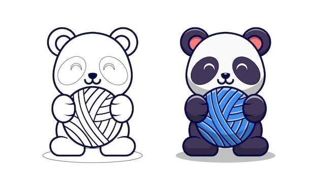 Pagina da colorare di cartoni animati carino panda che tiene la barra del filo per i bambini