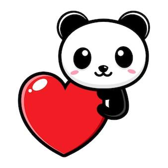 Simpatico panda che abbraccia un cuore d'amore