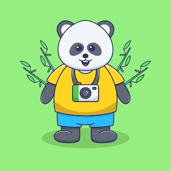 Simpatica illustrazione di panda con fotocamera