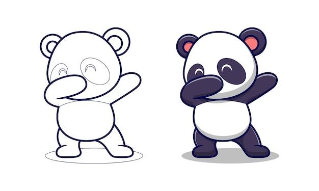 Il simpatico panda sta tamponando le pagine da colorare dei cartoni animati per bambini