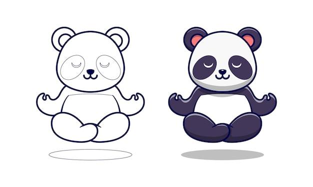 Panda carino sta meditando pagine da colorare di cartoni animati per bambini