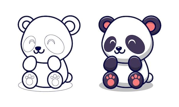 Panda carino è seduto pagine da colorare di cartoni animati per bambini