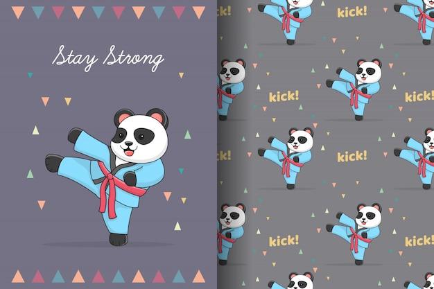 Modello senza cuciture di calcio carino panda karate e fascio di carte