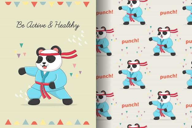 Modello senza cuciture di panda karate carino e fascio di carte