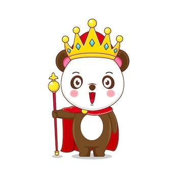 Simpatico personaggio re panda isolato.