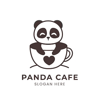 Logo carino panda all'interno di una tazza di caffè