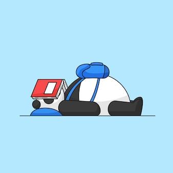 Simpatico panda sdraiato con indosso lo zaino sulla parte anteriore del corpo dopo essere stanco sull'illustrazione del fumetto dell'animale della scuola