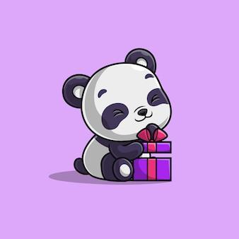 Panda sveglio che apre una confezione regalo isolata sulla porpora