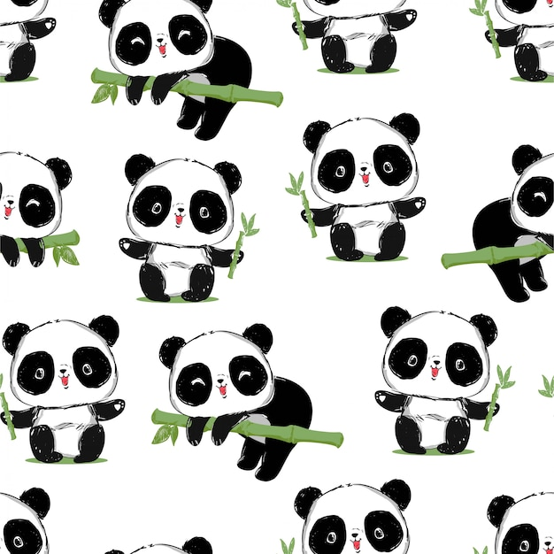Panda carino panda baby senza soluzione di continuità. modello. design del tessuto.
