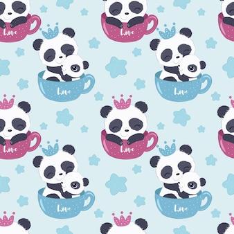 Simpatico motivo a panda per carta da parati in tessuto per bambini e molti altri