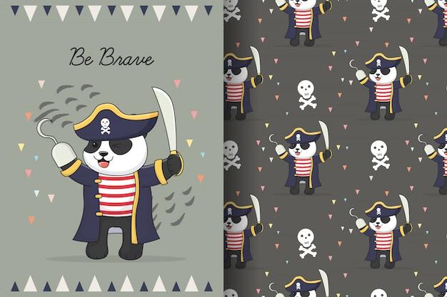 Modello senza cuciture di pirata carino panda