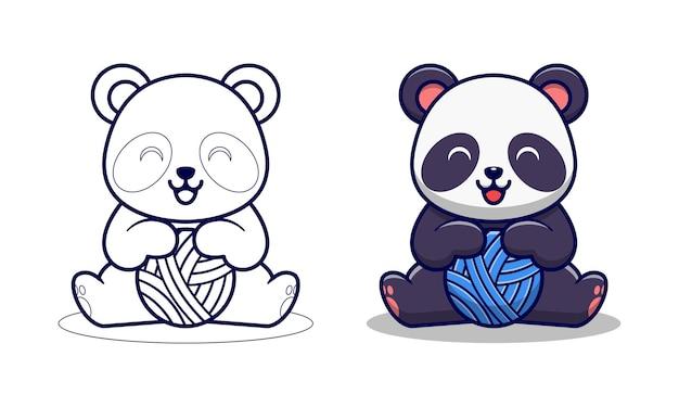 Panda sveglio che gioca le pagine da colorare dei cartoni animati del filato della palla per i bambini