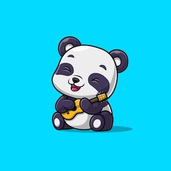 Panda sveglio che gioca una chitarra isolata sull'azzurro