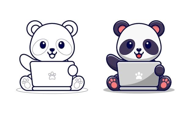Panda sveglio che gioca la pagina da colorare del fumetto del computer portatile per i bambini