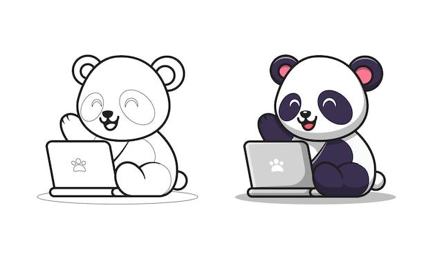 Panda sveglio che gioca le pagine da colorare dei cartoni animati del computer portatile