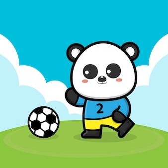 Simpatico panda che gioca a pallone da calcio fumetto illustrazione