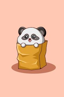 Simpatico panda nell'illustrazione di cartone animato animale tascabile
