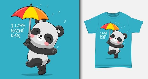 Panda carino nei giorni di pioggia con design tshirt