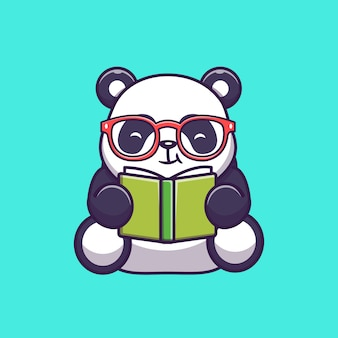 Panda reading book icon illustration sveglio. personaggio dei cartoni animati di panda mascotte. icona animale concetto isolato
