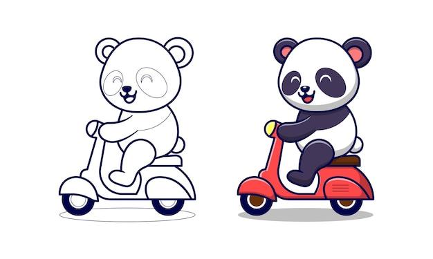 Panda carino in sella a una moto pagine da colorare dei cartoni animati per i bambini
