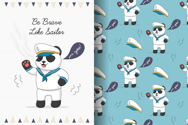 Modello senza cuciture del marinaio sveglio del panda e fascio della carta