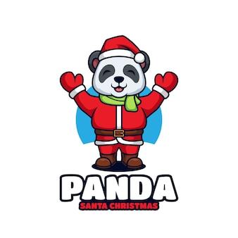 Simpatico panda babbo natale in costume natalizio