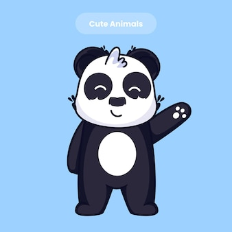 Il panda sveglio saluta l'illustrazione dell'icona di vettore del fumetto