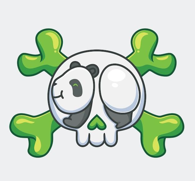 Simpatico panda e teschio logo cartone animato animale concetto di evento di halloween illustrazione isolata stile piatto