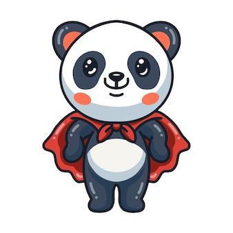Simpatico cartone animato panda super eroe