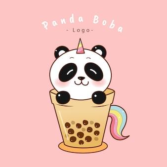 Unicorno sveglio del panda in tazza di tè della bolla.