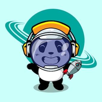 Panda sveglio usa l'astronauta del casco e tiene l'illustrazione del giocattolo del razzo