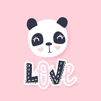 Illustrazione vettoriale carino panda personaggio animale divertente del fumetto.