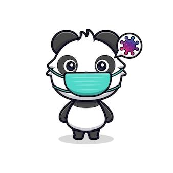 Simpatico panda che indossa una maschera per prevenire il virus. illustrazione vettoriale di mascotte dei cartoni animati animali