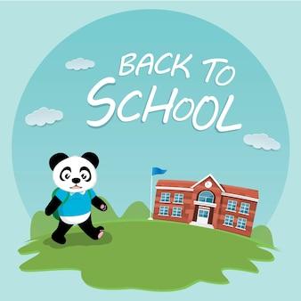 Carino panda bentornato a scuola design piatto vettoriale