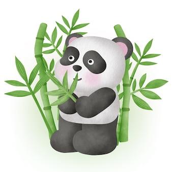 Simpatico panda con bambù in stile acquerello