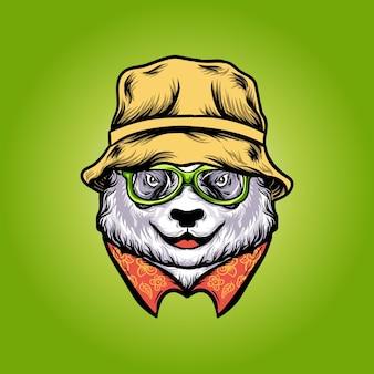 Simpatico panda con illustrazione vettoriale di cappello a secchiello