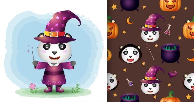 Un simpatico panda con collezione di personaggi di halloween in costume. modelli senza cuciture e illustrazioni