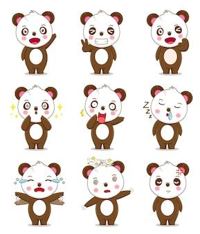 Panda carino con espressione diversa