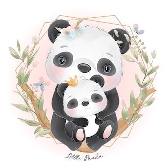 Panda carino con illustrazione floreale