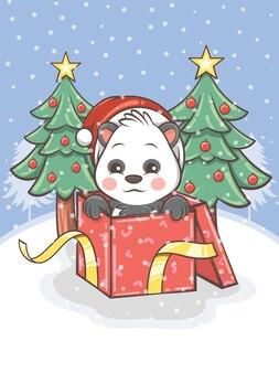 Panda sveglio con una confezione regalo e albero di natale - illustrazione del personaggio dei cartoni animati