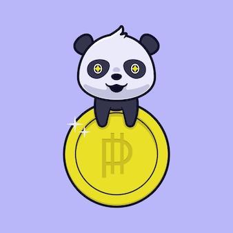 Simpatico panda con illustrazione di moneta d'oro