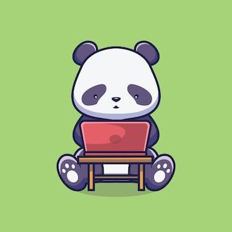 Panda sveglio con l'illustrazione del fumetto del computer portatile