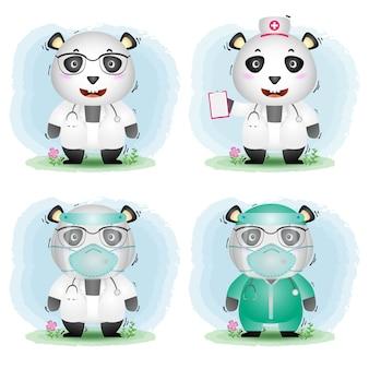 Simpatico panda con collezione di costumi da dottore e infermiera del personale medico