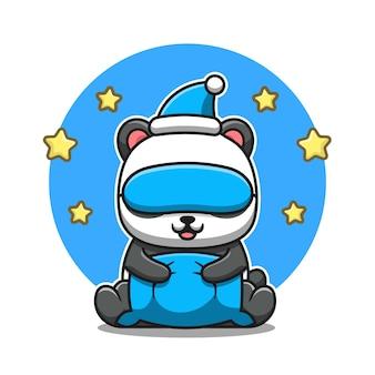 Panda carino con cuscino, maschera per gli occhi e cappello. natura animale icona concetto isolato. stile cartone animato piatto